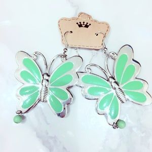 Green and Silvertone Butterfly Earrings